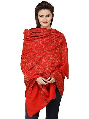 Bittersweet-Red Tusha Shawl from Kashmir with Sozni-Embroidered Flower Vines  and Paisleys
