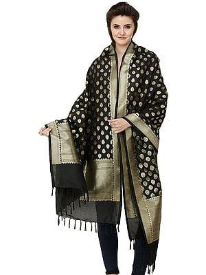 Banarasi Brocaded Dupatta with Floral Bootis and Border Weave in Zari Thread