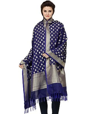 Banarasi Brocaded Dupatta with Floral Bootis and Border Weave in Zari Thread