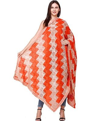 Phulkari Dupatta from Punjab with Embroidery and Gota Border
