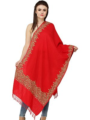 Pure Wool Stole from Amritsar with Ari-Embroidered Paisleys on Border and Beads