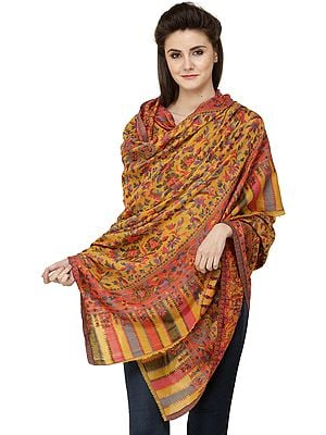 Cadmium-Yellow Kani Printed Jamawar Shawl from Amritsar