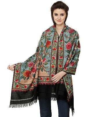 Phantom-Black Stole from Kashmir with Heavy Ari Hand-Embroidery All-Over