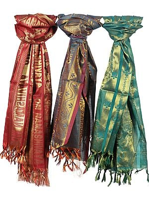 Lot of Three Brocaded Prayer Shawls with Golden Thread Weave All-Over
