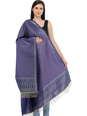 Orient-Blue Zari Brocaded Shawl from Banaras
