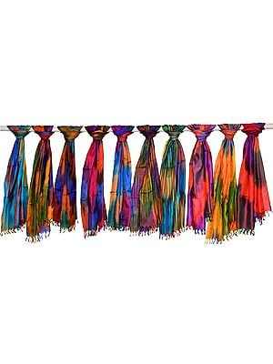 Lot of Ten Rainbow Banarasi Pure Silk Scarves with Tanchoi Weave