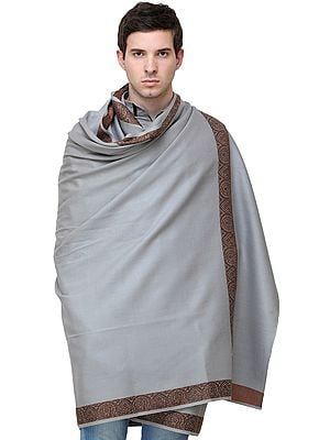Plain Men's Shawl with Brown Woven Border
