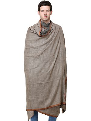 Cobblestone Pure Pashmina Handloom Men's Shawl from Kashmir with Sozni-Embroidered Border