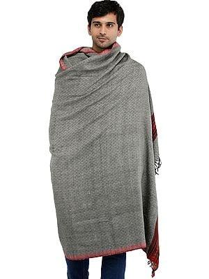Kullu Palla Men's Shawl with Kinnauri Woven Border in Multicolor Thread