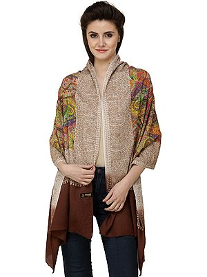 Carob-Brown Digital Printed Stole from Amritsar with Ari-Embroidered Border