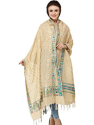 Banarasi Brocaded Dupatta with Woven Polka Dots and Meenakari Border