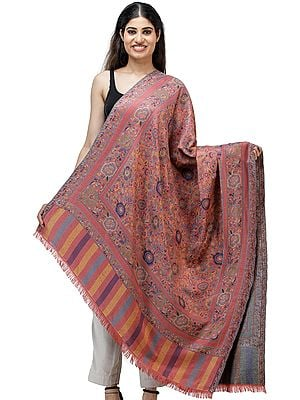 Jamawar Shawl with Woven Flowers in Multicolored Thread