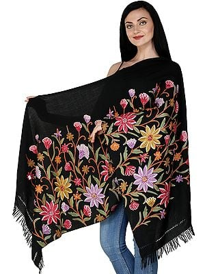 Caviar-Black Kashmiri Stole with Ari Hand-Embroidered Flowers in Multicolored Thread