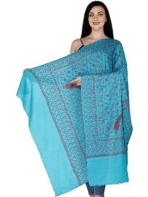Blue-Denube Cashmere Shawl from Kashmir with Sozni Embroidery