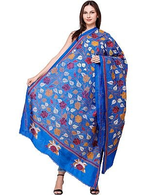 Turkish-Sea Dupatta from Bengal with Kantha Embroidered Roses All-Over