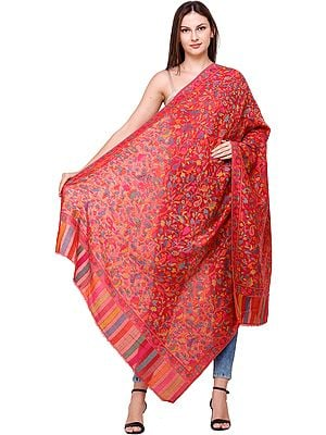 Rococco-Red Kani Jamawar Shawl with Flowers Woven in Multi-Colored Thread