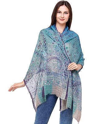 Lagoon Digital Printed Stole with Missing Checks in Weave
