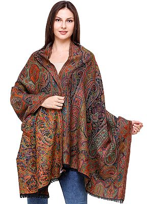 Kani Jamawar Shawl with Woven Flowers and Paisleys in Multicolor Thread