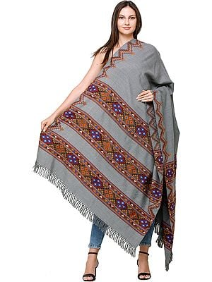 Mirage Handloom Shawl from Kullu with Kinnauri Border and ZigZag Weave