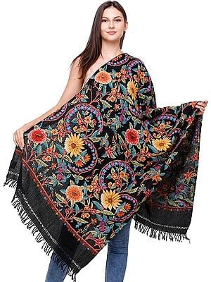 Caviar Black Stole from Kashmir with Ari Hand-Embroidered Flowers All-Over