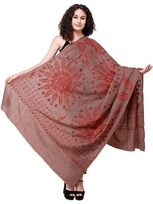 Pine-Bark Tusha Shawl from Kashmir with Needle-Embroidered Mandalas