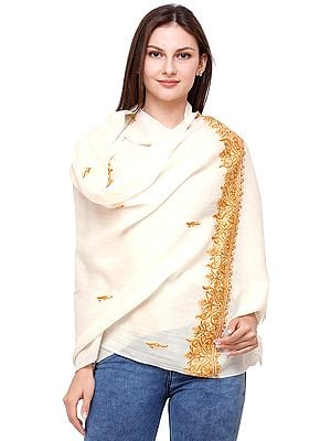 Plain Shawl from Kashmir with Hand Ari-Embroidery