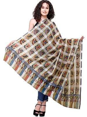 Kani Jamawar Shawl from Amritsar with Woven Checks and Multicolor Flowers