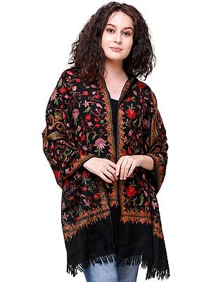 Jet-Black Stole from Kashmir with Ari-Embroidered Flowers by Hand