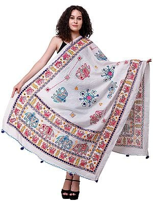 Printed Dupatta from Kutch with Hand-Embroidered Elephants and Mirrors