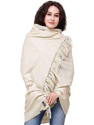 Wood-Ash Pure Pashmina Shawl from Nepal With ZigZag Weave