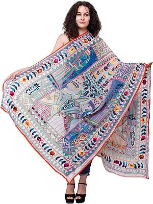 Spa-Blue Phulkari Dupatta from Punjab with Embroidered Flowers and Printed Village Folks in Multicolor Thread