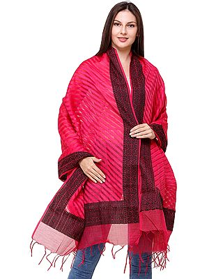 Dupatta from Banaras with Floral Weave in Black on Border