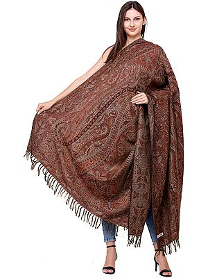 Brownie Jamawar Shawl from Amritsar with Woven Paisleys All-Over