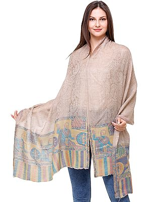 Shawl from Amritsar with Paisleys Woven in Self and  Lady with Charkha on Border