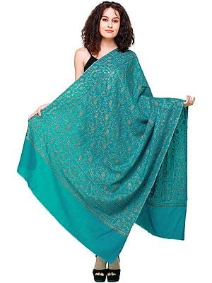Viridian Green Tusha Shawl from Kashmir with Sozni Embroidered Floral Vines All-Over