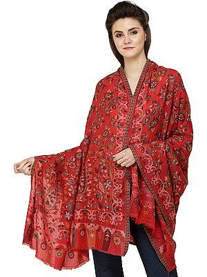 Formula-One Red Kani Jamawar Shawl from Amritsarwith Woven Flowers and Paisleys