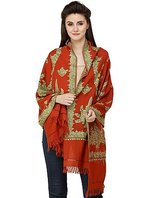 Orange-Rust Shawl from Kashmir with Floral Embroidery by Hand