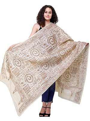 Kantha Hand-Embroidered Dupatta Inspired by Warli Folk Art