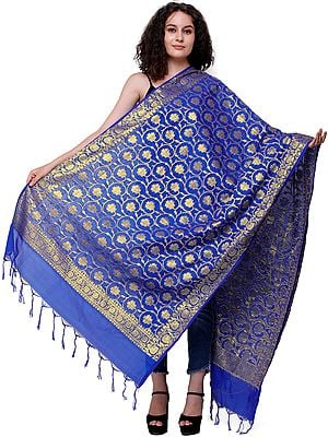 Brocaded Dupatta from Banaras with Lotus Flowers Woven in Zari Thread