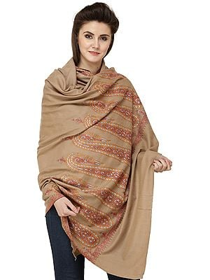 Corn-stalk Pure Pashmina Handloom Shawl from Kashmir with Sozni Embroidered Giant Paisleys