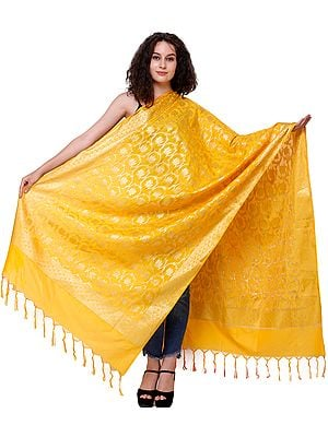 Brocaded Dupatta from Banaras with Zari-Woven Flowers