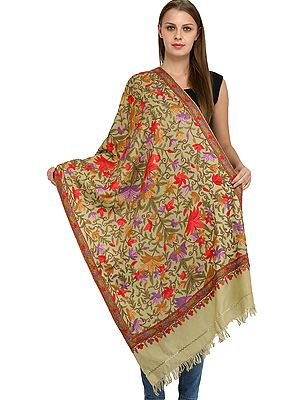 Dried-Moss Kashmiri Stole with Ari Hand-Embroidered Flowers in Multicolored Thread