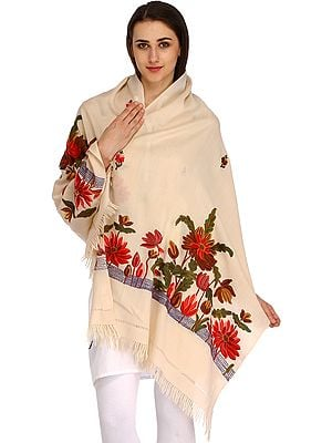 Kashmiri Stole with Ari-Hand Embroidered Flowers