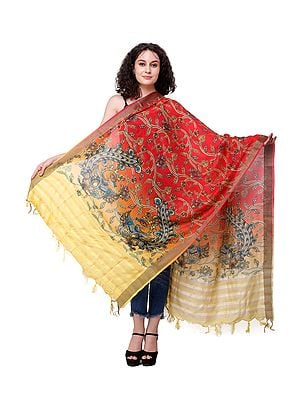 Rococco-Red Dupatta with Digital Printed Dancing Peacocks Inpsired by Kalamkari Art