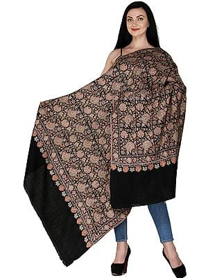Midnight-Black Pure Pashmina Handloom Shawl from Kashmir with Sozni Embroidered Flowers All-over in Multicolor Thread