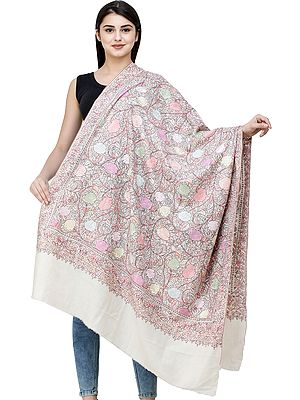 Cream Pure Pashmina Shawl from Kashmir with Sozni Hand-Embroidered Roses and Leaves in Pastels