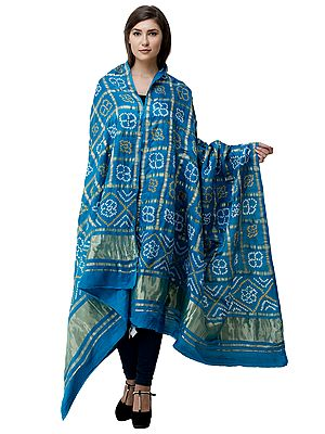 Bandhani Gharchola Dupatta from Gujarat with Zari-Woven Checks