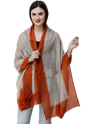 Gray Stole from Amritsar with Dyed Solid Border