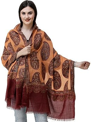 Tangerine Kani Jamawar Stole from Amritsar with Woven Paisleys All-Over
