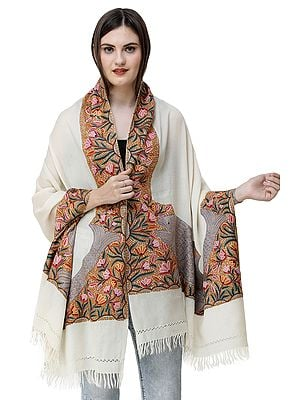 Kashmiri Stole with Ari Hand-Embroidered Flowers and Fishes